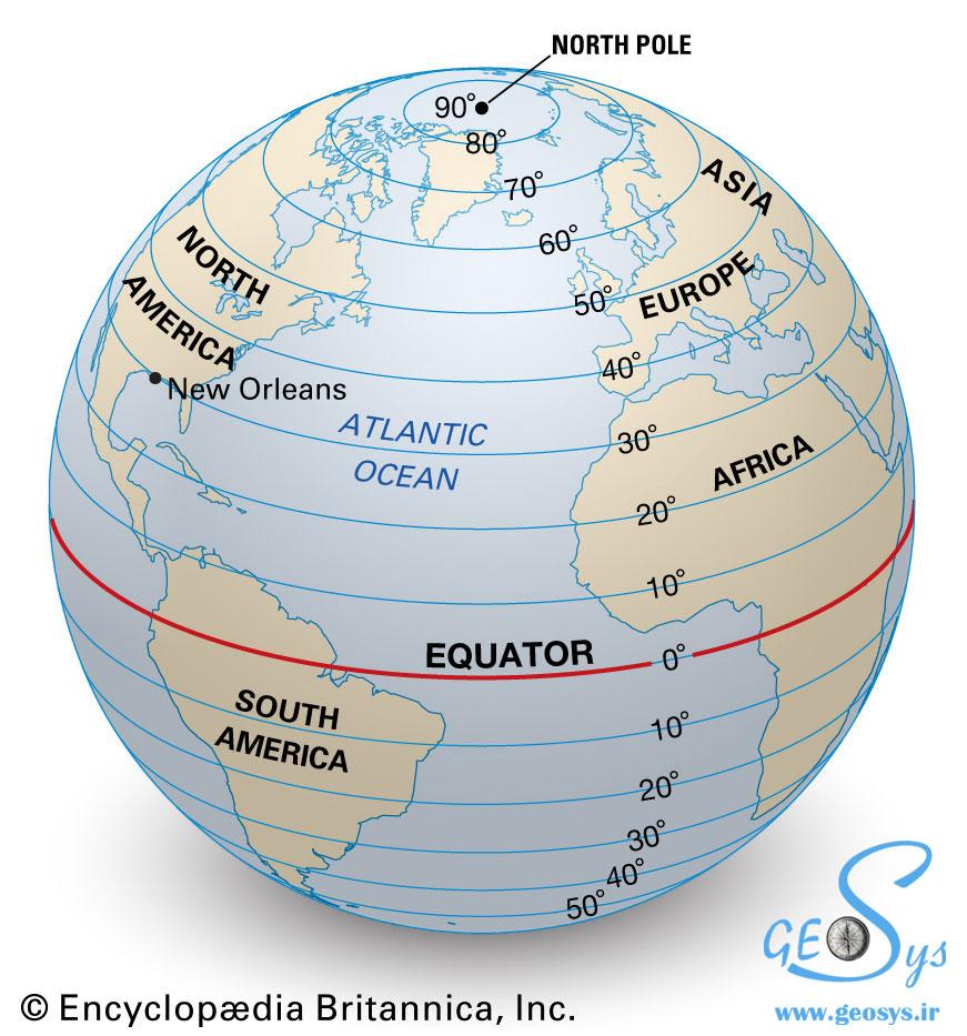عرض جغرافیایی (Latitude)
